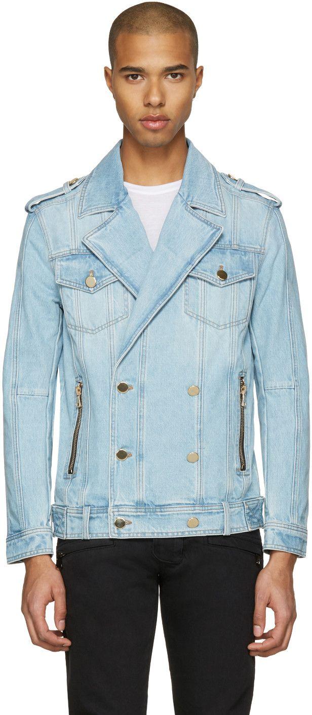 BALMAIN Blue Double-Breasted Denim Jacket. #balmain #cloth #jacket