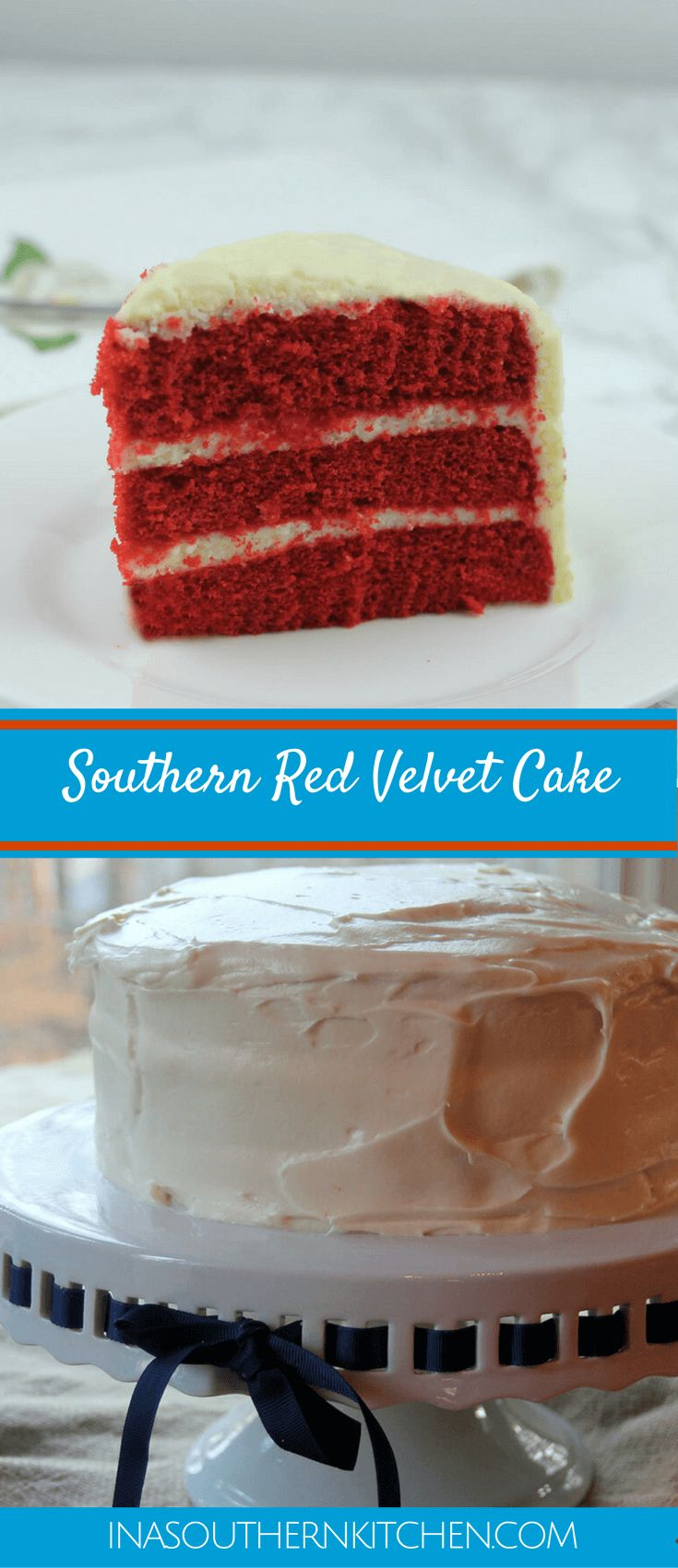 Southern Red Velvet Cake is a super moist cake with cream cheese frosting. This classic recipe will be an instant family favorite! via @insouthernktchn