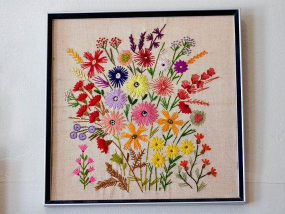 Vintage Crewel Floral Framed Embroidery | Lovely Living ...