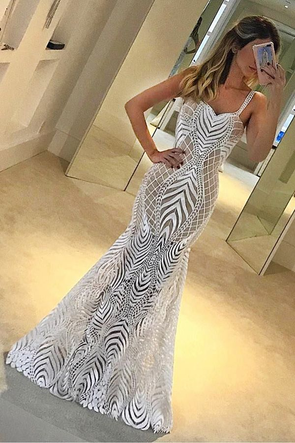 mermaid prom dresses, sexy lace spaghetti straps prom party dresses, cheap evening dresses