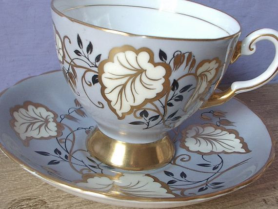 Antique Tuscan tea cup set, English tea cup and saucer, blue grey gold and white cup, bone china tea cup, gift for mom  This set has the mark first