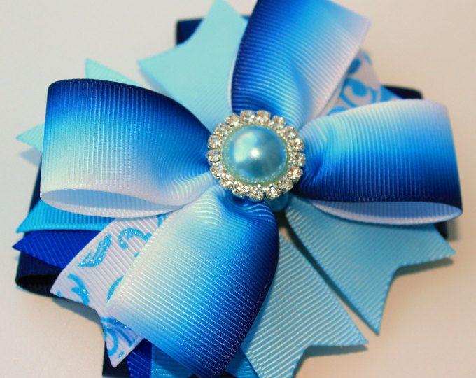 Hair Bow Blue hair bow Rhinestone hair bow Blue bow Blue glitter hair clip Blue glitter bow Stacked hair bows Blue bows Blue Rhinestone bow