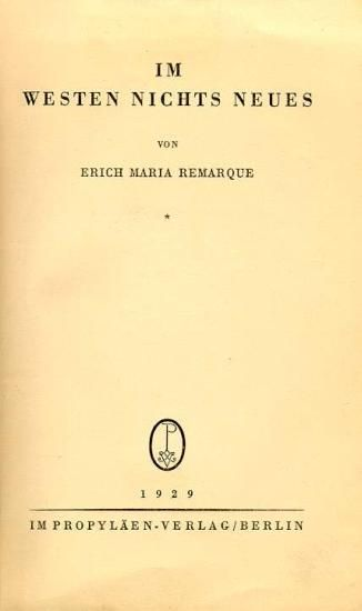 A book written by Erich Maria Remarque under the influence of the New Objectivity (Neue Sachlichkeit), portraying the process of aging and change of mind of Paul Bäumer. At first happy to go to war and to serve his country, he soon realises that the image of the brave soldier is nothing but an illusion. He and his comrades are taught the rules of war and its barbarity. Remarque does nothing to show some sympathy or hope for the soldiers. He only tries to portray a situation like it is.
