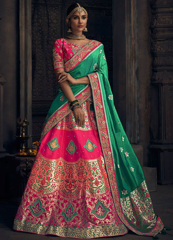 34b5f352a2 Buy Pink banarasi silk Indian wedding lehenga in UK, USA and Canada ...