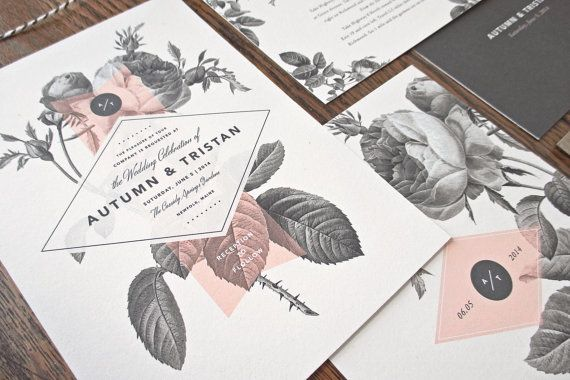 Vintage Floral Wedding Invitation & by rachelmarvincreative