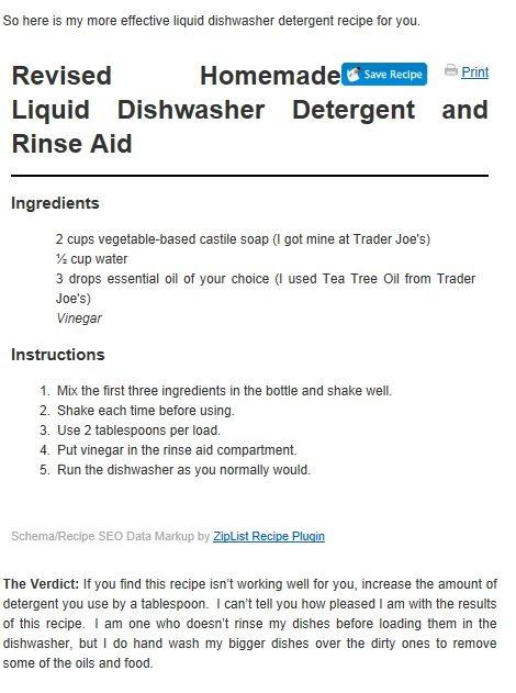 DIY Liquid Dishwasher Detergent recipe, just 3 ingredients  Castille soap, water & essential oil, rinse aid is vinegar