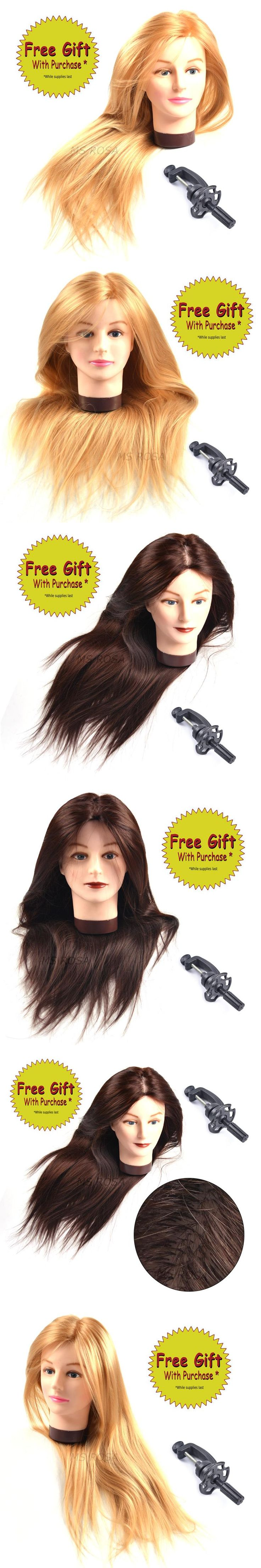 Synthetic Mannequin Head Female Hair Head Doll 22 Inches Mannequin Doll Head Hairdressing Training Heads Styling With Fiber
