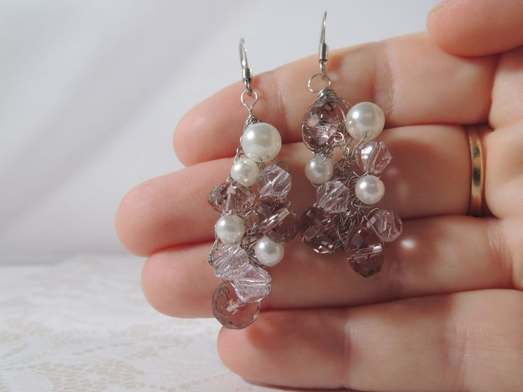 Pink artificial crystal and pearl crochet earrings