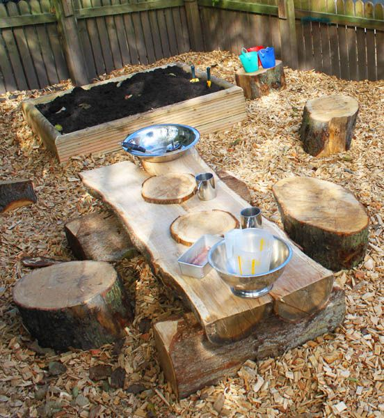 Mud pies, shell cupcakes and soil soup; create your own concoctions in our Soil Kitchens. Our Starter Kitchen includes a natural wood table, four oak seating stumps, four oak slice plates and soil trough.