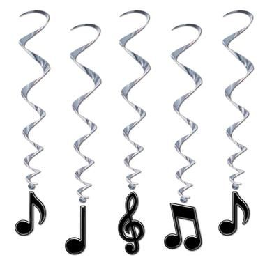 """Your guests will be singing your praises when they see how fun your decorations are when they're accented with these Musical Note Whirls! Includes 5 plastic whirls that each measure 36"""""""" high.Includes"""