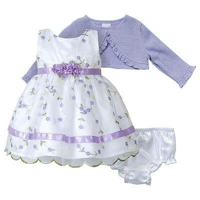 Youngland Floral Schiffli Dress And Cardigan Set Newborn