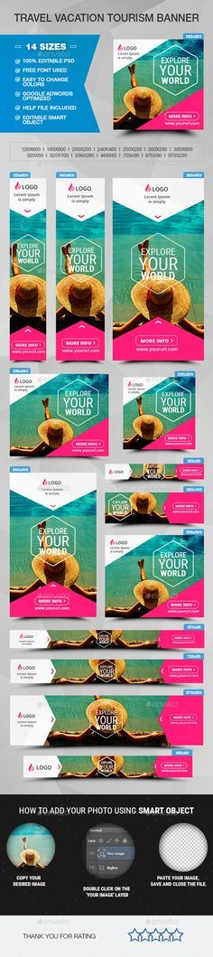 Travel Vacation Tourism Banner Template #design #ads Download: http://graphicriver.net/item/travel-vacation-tourism-banner/12727418?ref=ksioks