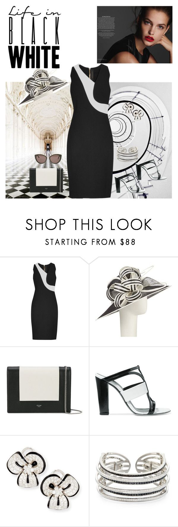"""Black & White Roland Mouret Crepe Dress"" by horcal ❤ liked on Polyvore featuring Oxford, Roland Mouret, John Lewis, CÉLINE, Oscar de la Renta, Leo Pizzo and Balenciaga"