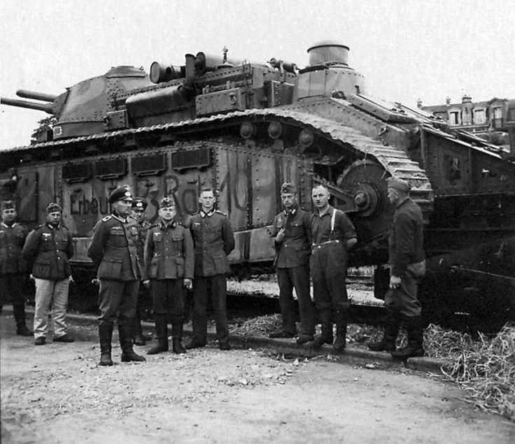 The Char 2C, also known as FCM 2C, is a French super-heavy tank developed and field tested in 1917, although never deployed during World War I. It was, in physical dimensions, the largest operational tank ever made. [photo: German Army captures French Char 2C tank c. 1940 to send to Berlin]