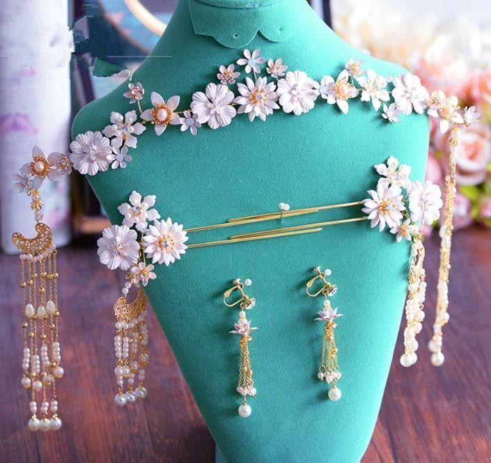 Geschenk Blumen Haarstab-Haar Nadel Mir Perle Kette Damen Hochzeit Haarschmuck