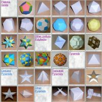 Paper Models of Polyhedra  Polyhedra are beautiful 3-D geometrical figures that have fascinated philosophers, mathematicians and artists for millennia. On this site are a few hundred paper models available for free.  Make the models yourself.