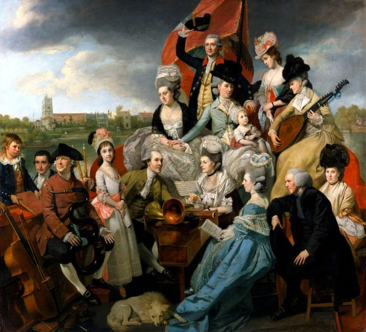 """Johan Zoffany, """"The Sharp Family,"""" 1779–81, oil on canvas  The Sharp Family, afloat on a barge called Apollo with Fulham Old Church in the distance, is so exuberant as to be barely credible. It is a pyramid, a heap of humanity, each subject beautifully and elaborately dressed and exhibiting a solemn concentration on the music to come. Horns, harpsichord and cello are all at hand ready to be brought into play, and the scene is further enlivened by a baby holding a remarkably calm kitten."""