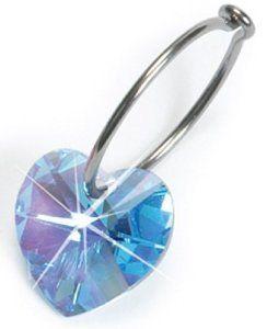 Nickel Free Swarovski Heart Dangle, Aquamarine Blomdahl. $35.00. Medical Grade Titanium. Nickel Free Earrings. Comfort Guaranteed