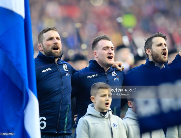 February 25th 2017, Murrayfield, Edinburgh Scotland; Six Nations International Rugby, Scotland versus Wales; Scotlands John Barclay and Stuart Hogg heartily sing Flower of Scotland before the match commences