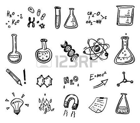 expérience scientifique: Dessinés à la main chimie et sciences icons set.
