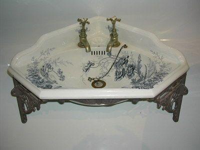 Antique Victorian Blue Transfer Corner Bathroom Basin: