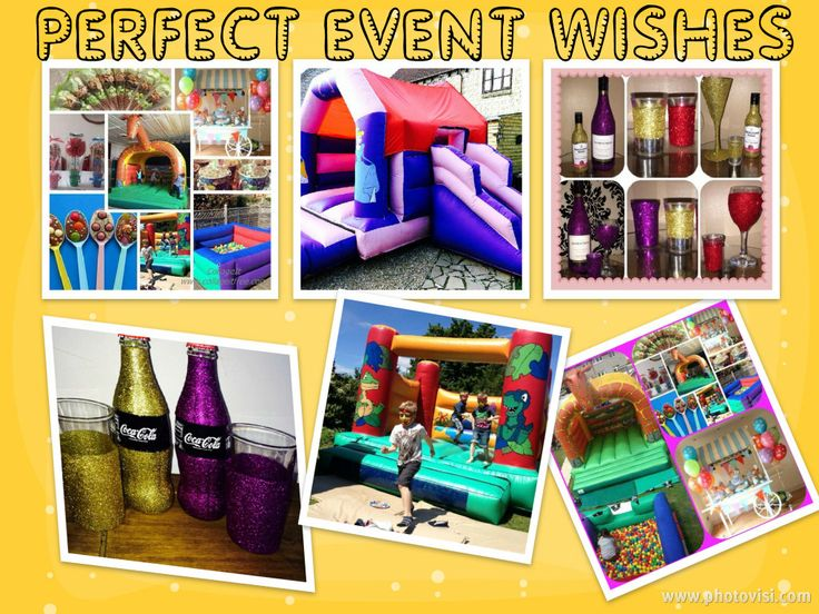 SPECIAL OFFER 2 ITEMS £100  Bouncy castles   Ball pits  Slides   Princess castle slide combo  (not included in offer)  Princess castle slide combo and another item £120  Candy carts   Glitter items and more !  Bristol based family business.     (Not including princess castles   Other offers available:  HAND DECORATED DAZZLING SPARKLE GLASSWARE   www.perfecteventwishes.co.uk