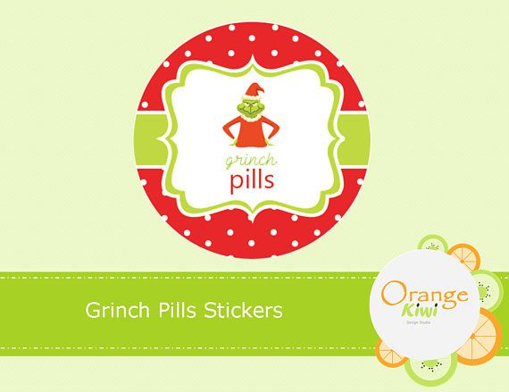 Grinch Pills Stickers Treat Bag Stickers Candy Wrapper