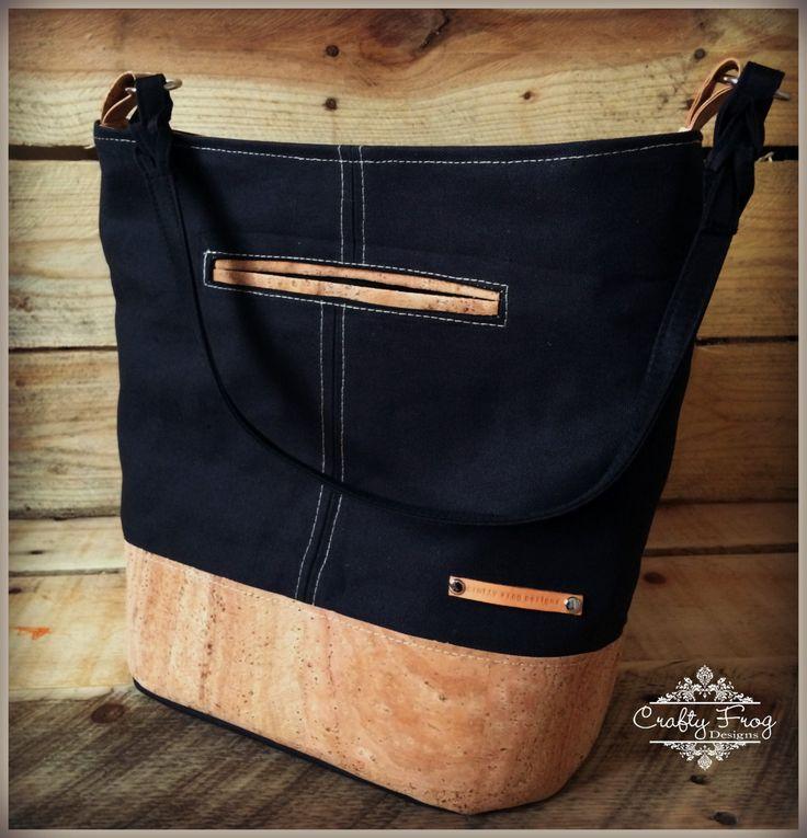 Cork Leather Bonnie Bag - Bucket Bag - Canvas Bag - by CraftyFrogDesigns on Etsy