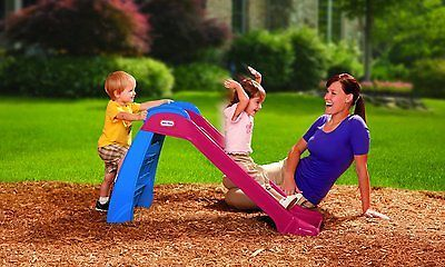 Kids Red Slide Plastic Red Blue Toddler Outdoor Play Structure Climb Indoor Fold