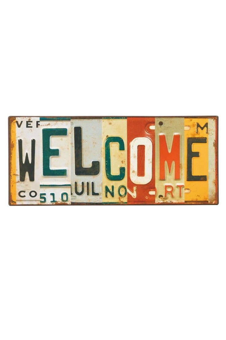 """WELCOME is spelled out with collaged license plate images - great for any entry!    Measures: 12"""" wide x 5 ¼"""" high   License Welcome Sign by BUDD + FINN. Home & Gifts - Home Decor - Wall Art Portland, Oregon"""