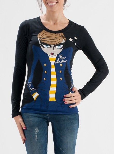 LOVE MOSCHINO T-SHIRT 93% Cotone 7%   Elastan Colore Nero T-Shirt Con Stampa