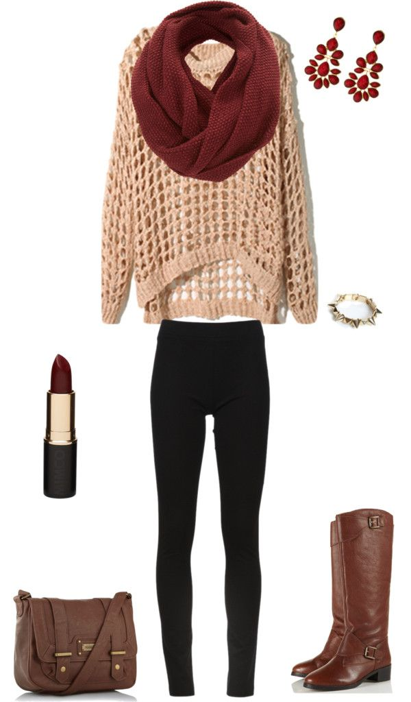 Pink knit cut out sweater + deep red infinity scard + black leggings + tall brown leather riding boots + brown leather cross body bag
