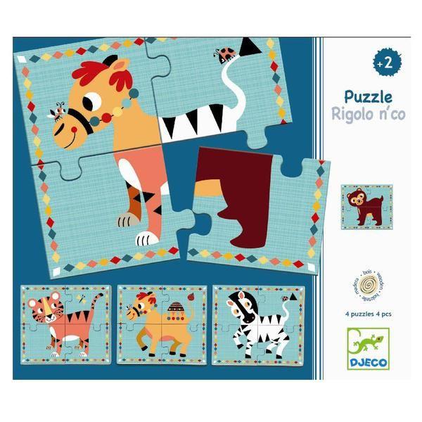 4 små træpuslespil fra Djeco med motiver af dromedar, bjørn, tiger og zebra. Med disse fine puslespil er der mulighed for at sammensætte sit helt eget sjove dyr