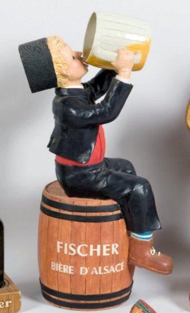 FISCHER Bière d'Alsace - Plâtre polychromé (~ 47 x 20 x 17 cm)