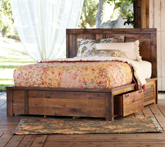 Rustic bed with storage