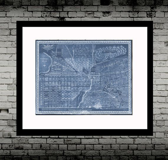 """Ballarat Map - H.Deutsch Blueprint Map 1860's, poster, print, antique map, wall art, Ballarat      Printed on matt Fine art archival paper (unframed).    Also available in:    8x10""""  A4  A3  A2        See my other listings 