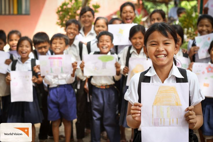 Lay from #Cambodia and her friends show the #drawings they made using school materials provided by #WorldVision! The kids received everything from #pens, #pencils, #rulers and #notebooks to #soap and #shoes! Photo by Vanndeth Um, World Vision