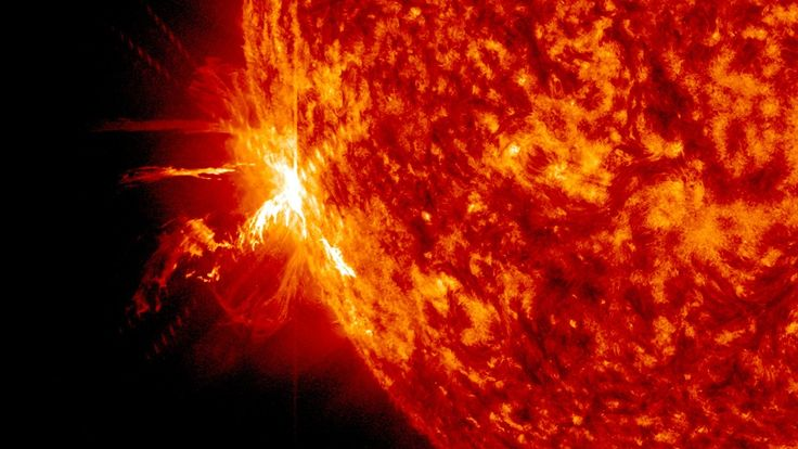 A powerful X-class solar flare, one of three X-class flares unleashed by the sun on June 10 and 11, as seen by NASA's Solar Dynamics Observatory. X-class flares are the most powerful kind.