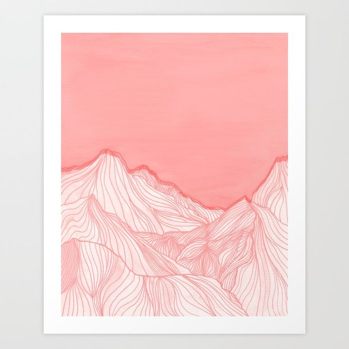 Buy Lines in the mountains - pink Art Print by vivigonzalezart. Worldwide shipping available at Society6.com. Just one of millions of high quality products available.