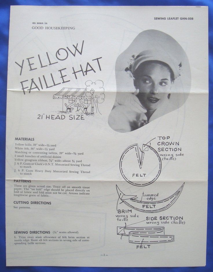 vintage Good Housekeeping YELLOW FAILLE HAT millinery accessory sewing pattern | eBay