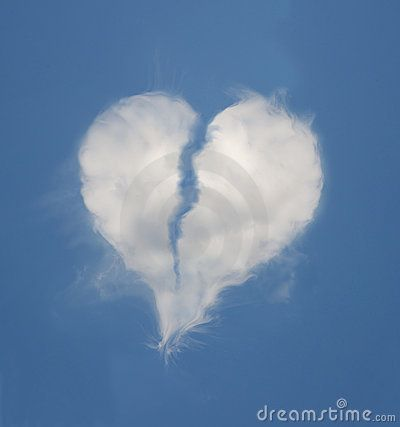 Broken heart shaped cloud