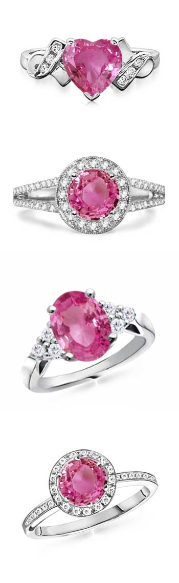 Pink Sapphire Engagement Rings. from top: Cupid Ring, Halo with Split Shank, Oval with diamond accents, Classic Halo Pave