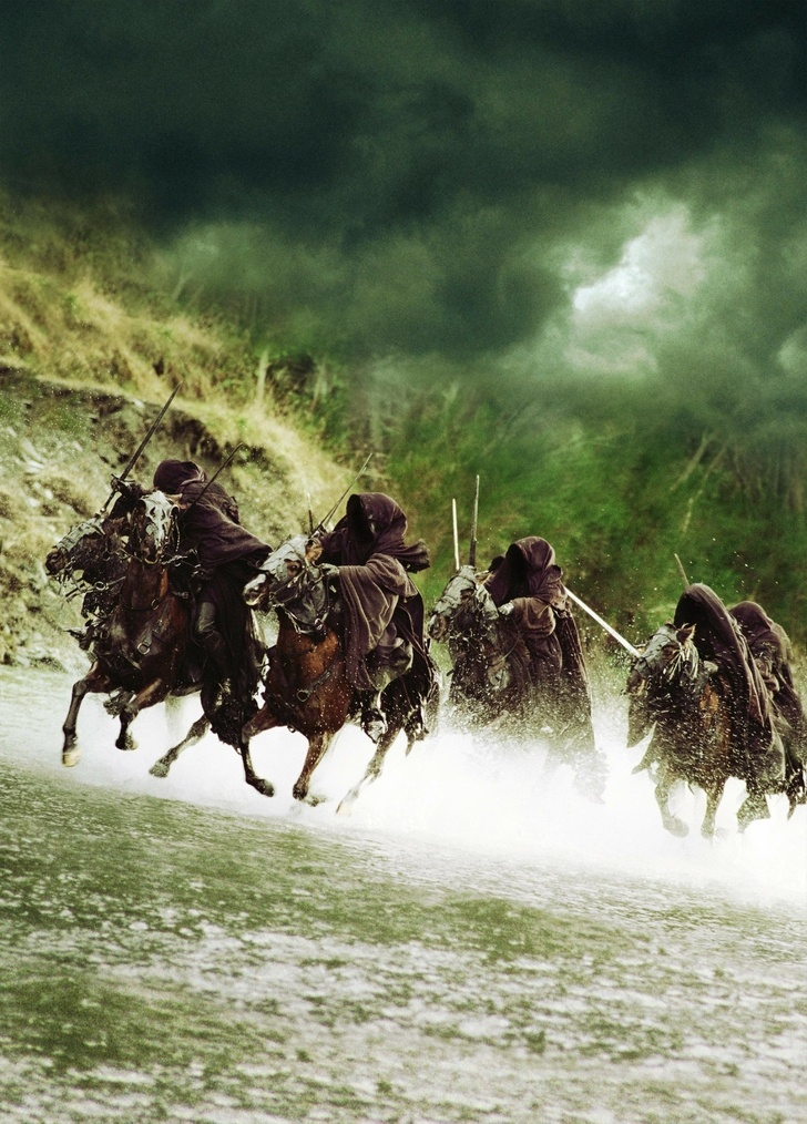 """The Nazgûl (The nine Dark Riders) arose as Sauron's most powerful servants in the Second Age of Middle-earth. They were once mortal Men, three being """"great lords"""" of Númenor. Sauron gave each of them one of nine Rings of Power. Ultimately, however, they were bound to the One Ring, and succumbed completely to its power and its seduction:"""