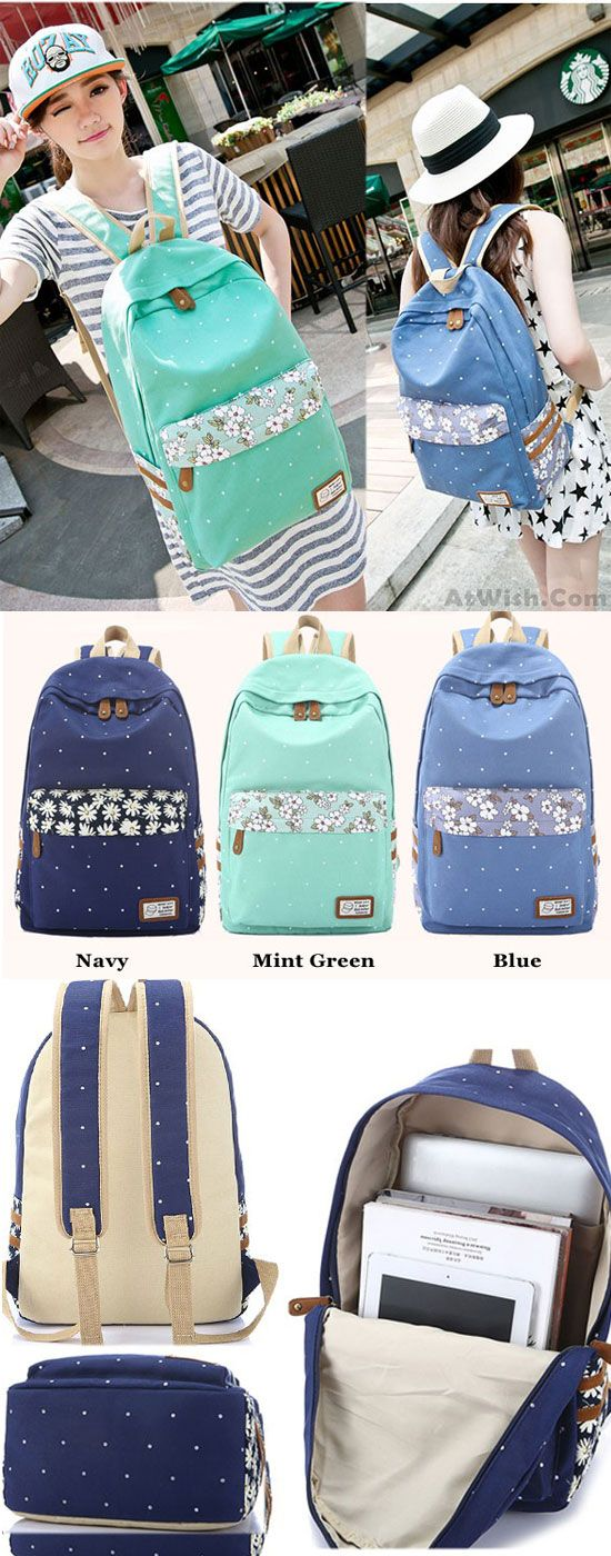 Which color do you like? Fresh Polka Dot Mint Green Canvas School Backpacks #school #polka #fresh #dot #green #canvas #backpack #bag
