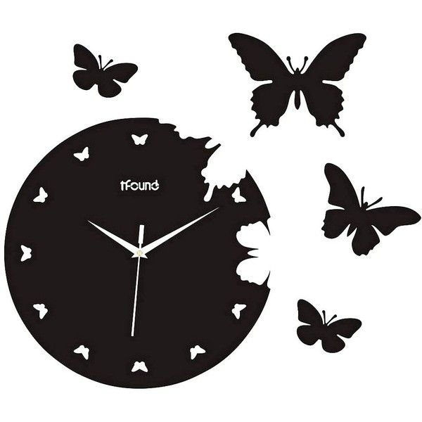 "Butterfly 14 1/4"" Round Wall Clock found on Polyvore"