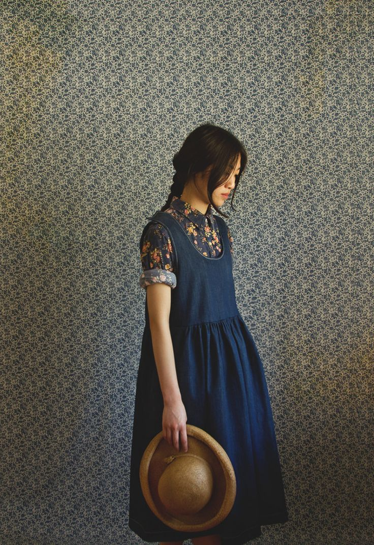The Clover Dress: Denim Dresses, Gemerald Vintage, Buttons Up, Blue Dresses, Denim Jumpers, Blouses Underneath, Beautiful Dresses, Mori Girls, Clovers Dresses