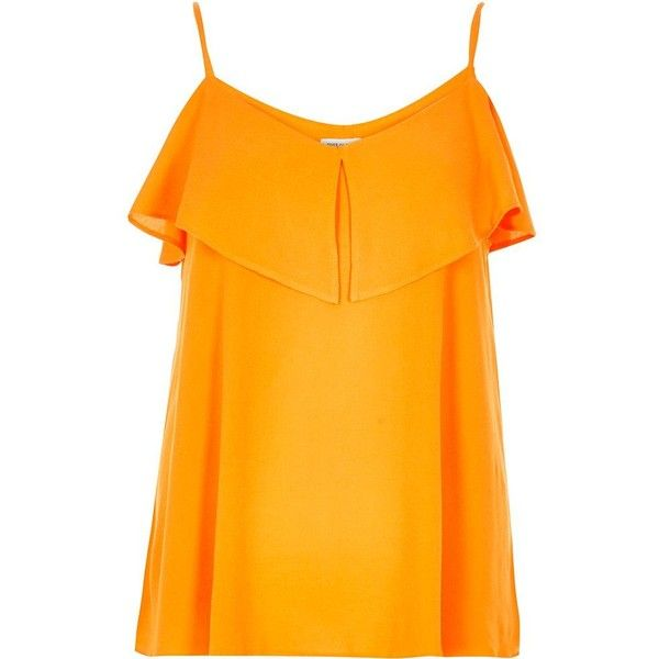 River Island Orange tired cold shoulder cami (£33) ❤ liked on Polyvore featuring tops, cami / sleeveless tops, orange, women, flutter-sleeve top, ruffle sleeveless top, tall tops, cut out shoulder top and river island