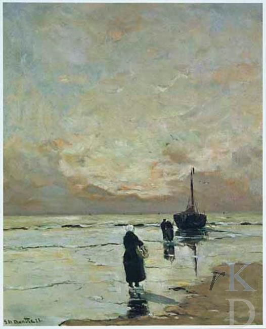 Gerhard Arij Ludvig Munthe Bomschuit met vissersvrouwen aan het strand, 1923  Van Marle en Bignell 1979-11-19, 324 #ZuidHolland #Katwijk