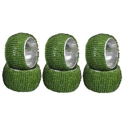 Buy DakshCraft Green Beaded Napkin Rings - Set of 6, Table Accessories Item