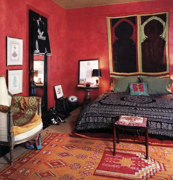 superb design of a Bohemian inspired bedroom with exotic and Indian inspiration